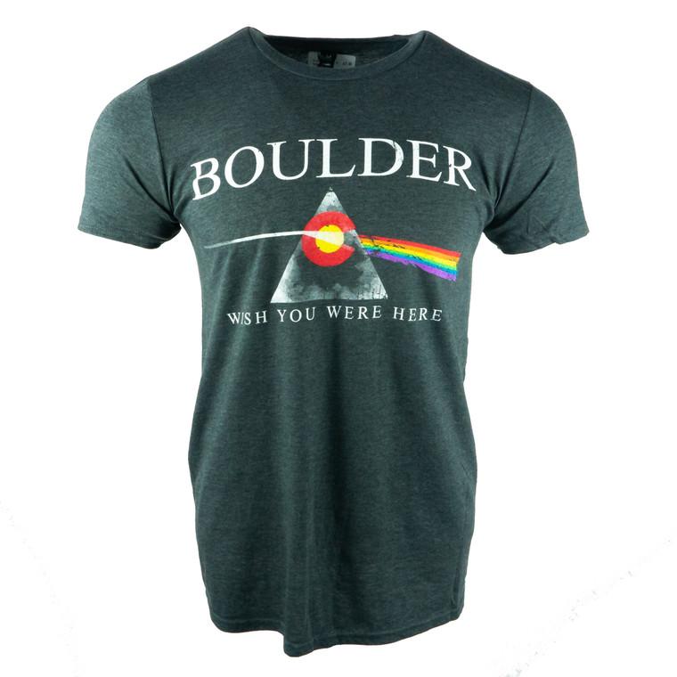 Men's Short Sleeve Wish You Were Here Pink Floyd Boulder T-Shirt, black