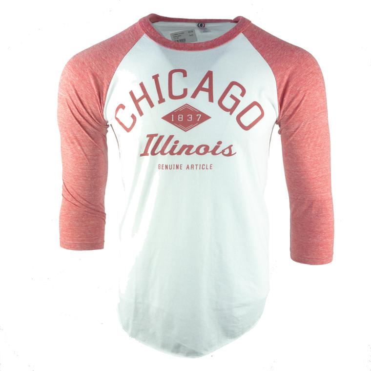 Men's 3/4 Sleeve Chicago Established Date Baseball T-Shirt,  wine red