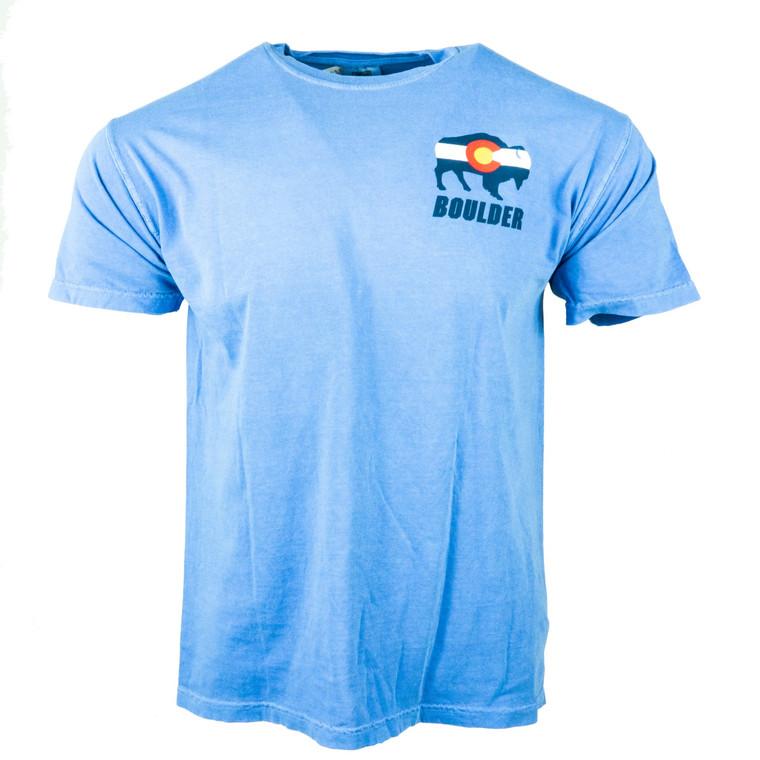 Men's Short Sleeve Boulder Colorado Flag Buffalo T-Shirt, flo blue