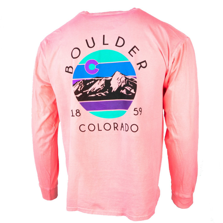 Men's Long Sleeve Boulder Infernal Flatiron Mountain T-Shirt, neon coral pink