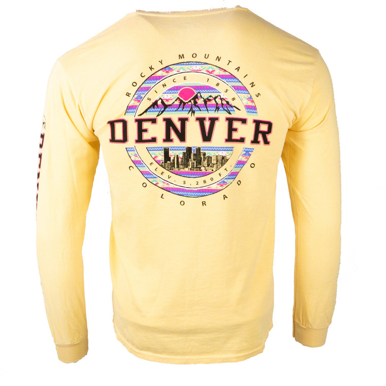 Long Sleeve Denver Vest Mountain Skyline Shirt, butter yellow
