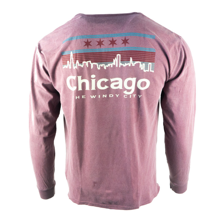 Men's Long Sleeve Chicago Guardsman T-Shirt, maroon purple