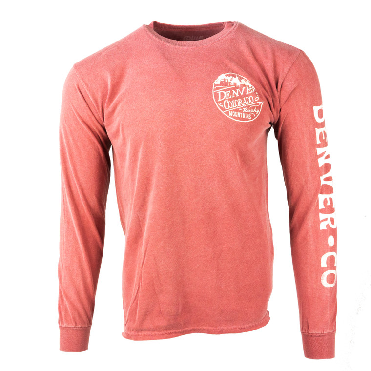 Men's Long Sleeve Denver Rocky Mountain Skyline T-Shirt, redsand red