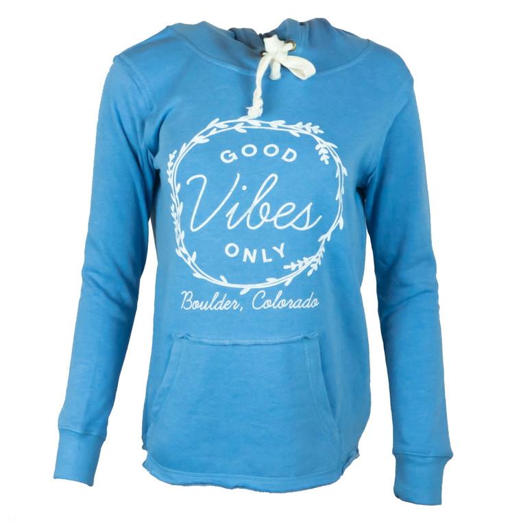 Women's Boulder Good Vibes Whisp Fleece Hoodie, blue