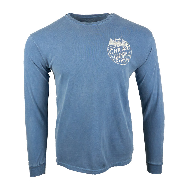 Chicago graphic long sleeve tee, pacific blue
