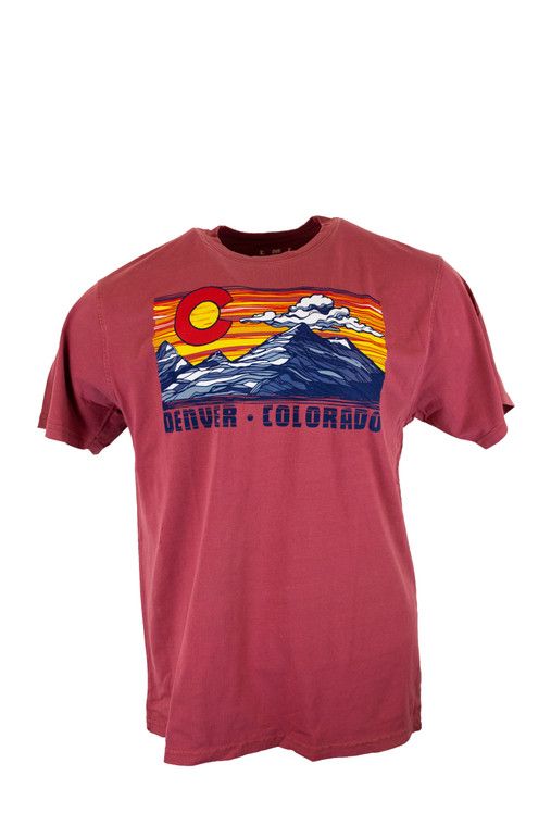 Denver Colorado Sunset Mountain Scape Short Sleeve Tee Shirt, Crimson
