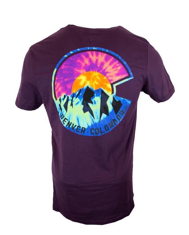 "Denver Colorado Flag ""C"" Tye Dye T-Shirt - Eggplant Purple"