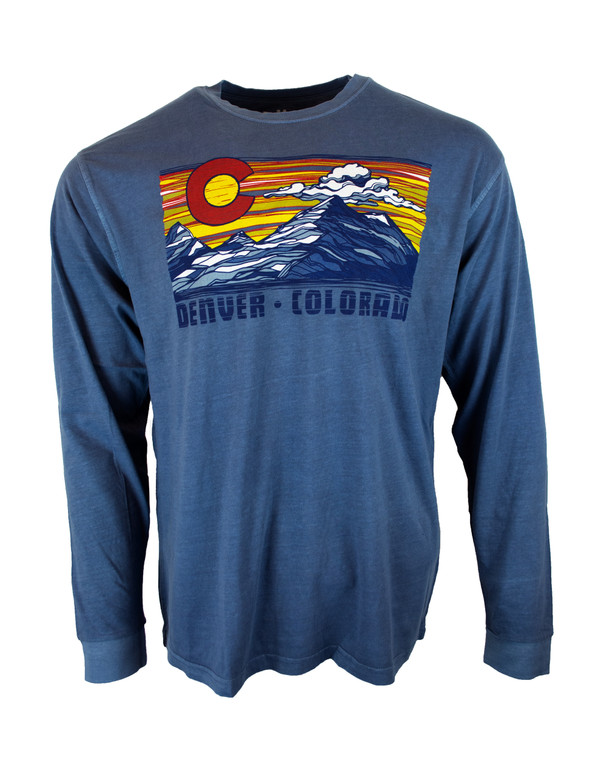 Denver Sunset Colorado Long Sleeve T - Lakeshore Blue