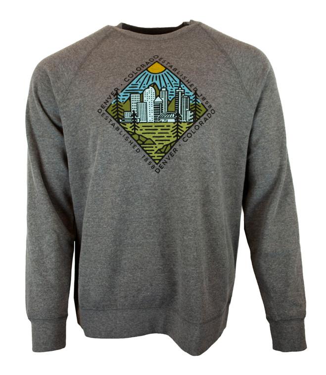 Men's Crew Neck Denver Diamond Sweatshirt - Heather Grey
