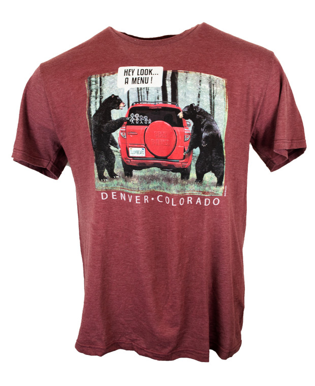 Men's Short Sleeve Bear Menu T-Shirt - Heather Burgundy Red