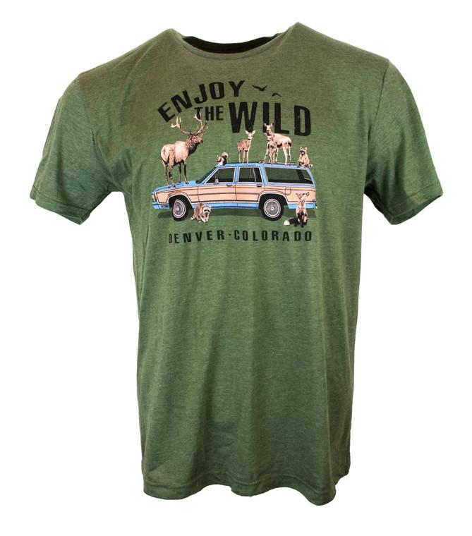 "Men's Short Sleeve ""Enjoy The Wildlife"" Denver Colorado T-Shirt - Heather Forest Green"