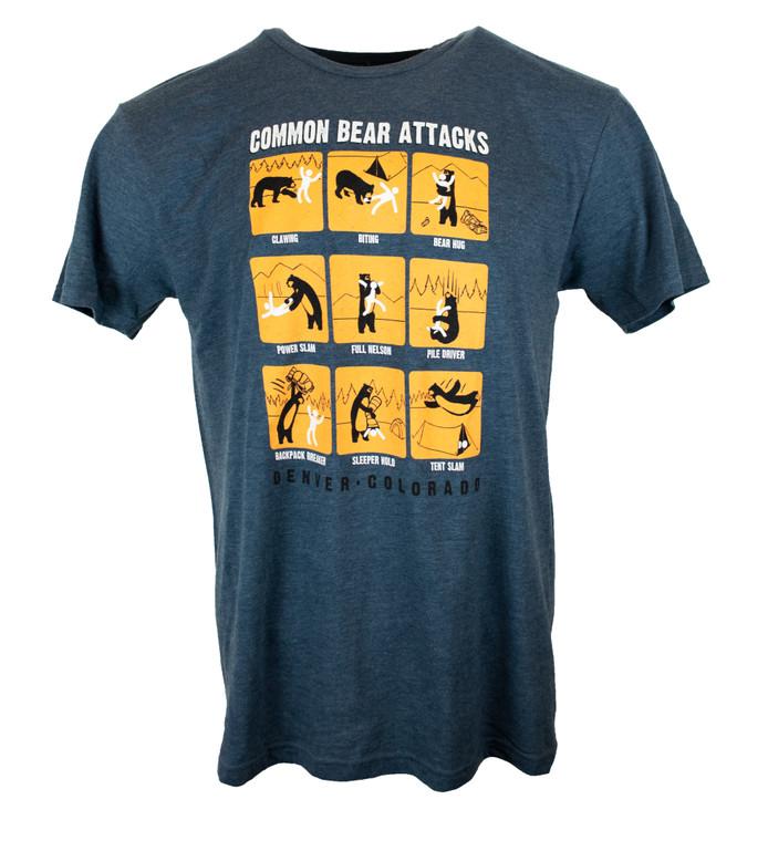 "Men's Short Sleeve ""Common Bear Attacks"" Denver Colorado T-Shirt - Heather Blue"