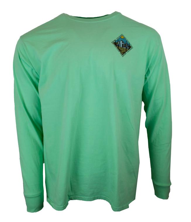Men's Long Sleeve Diamond Denver Colorado T-Shirt - Mojito Green