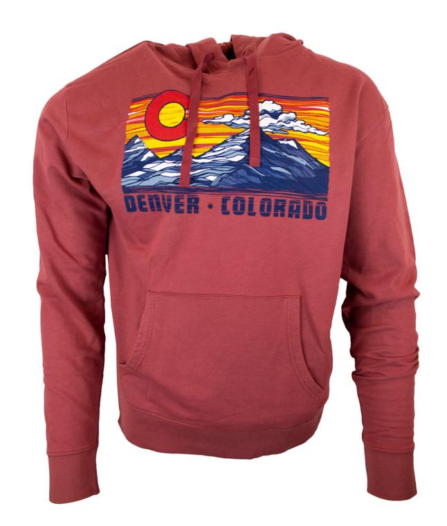Men's Denver Sunset Colorado Hoodie - Crimson Red