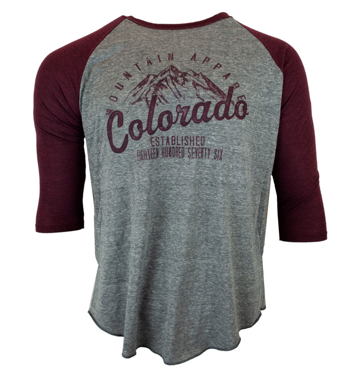 Men's 3/4 Sleeve Baseball Style Mountain T-Shirt - Grey Wine