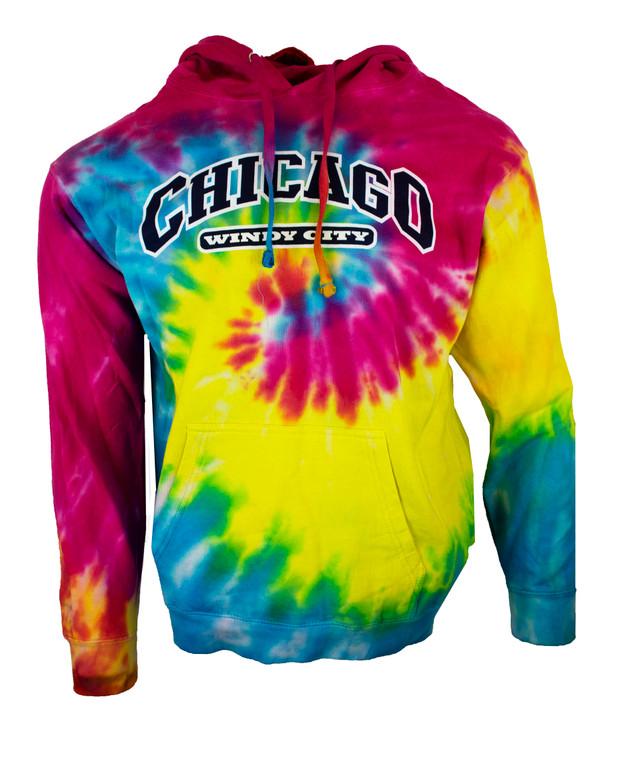 Men's Hoodie Chicago Tye Dye Sweatshirt Hoodie - Rainbow