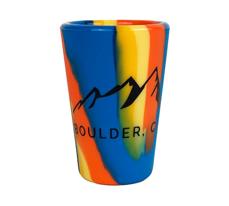 Boulder Flatirons Sili Pint Silicone Shot Glass - Orange Blue