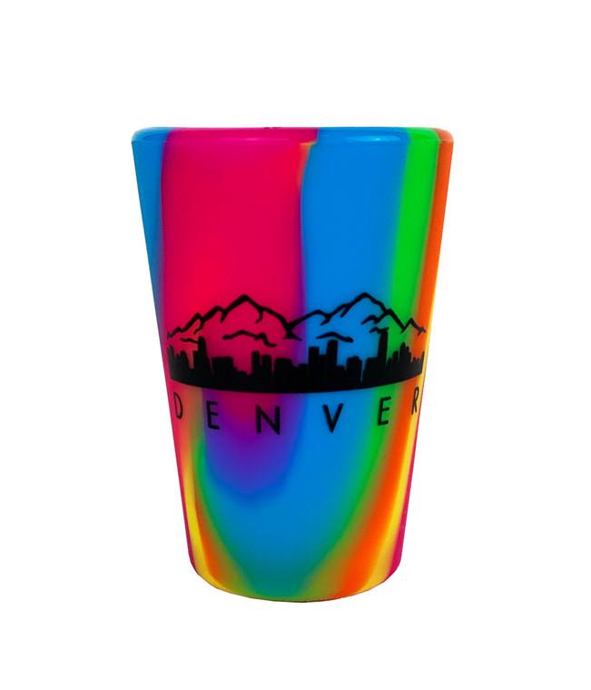 Denver Sili Pint Silicone Shot Glass - Pink Orange Rainbow