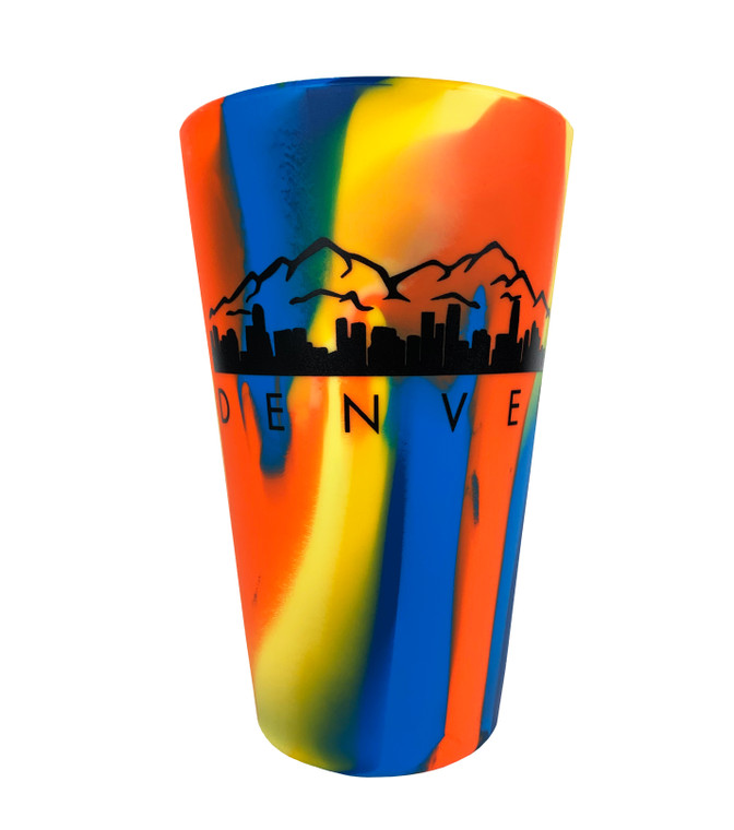 Denver Mountain Scape Sili Pint Silicone Pint Glass - Orange Blue