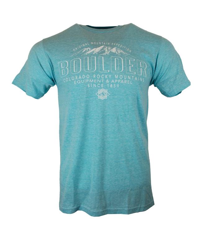Men's Short  Sleeve Boulder Glaze Mountain Equipment & Apparel T-Shirt -  Aqua blue