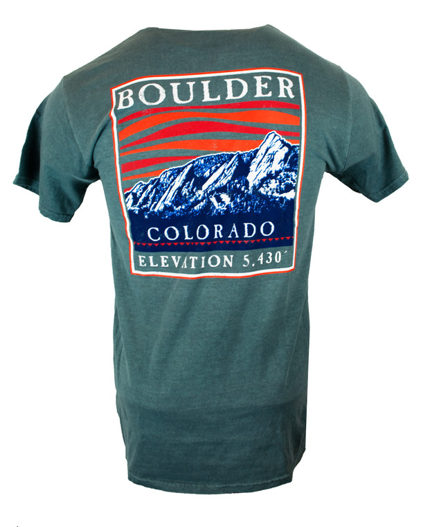 Men's Short Sleeve Boulder Colorado Wave Flatirons T-Shirt - Emerald Back