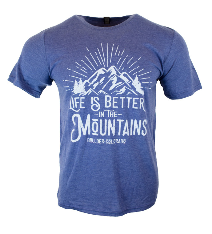 Men's Short Sleeve Life's Better In The Mountains T-Shirt - Heather Blue