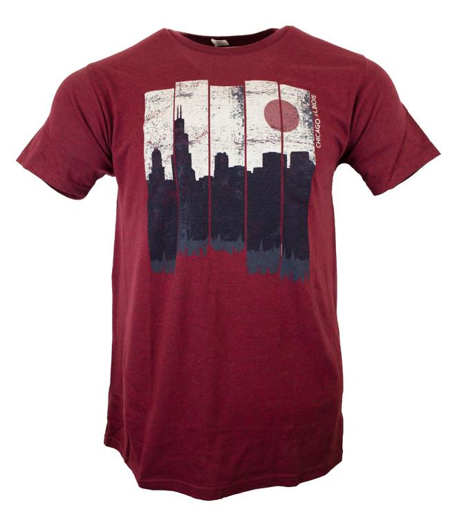 Men's Short Sleeve Chicago Synco Skyline T-Shirt - Brick Red