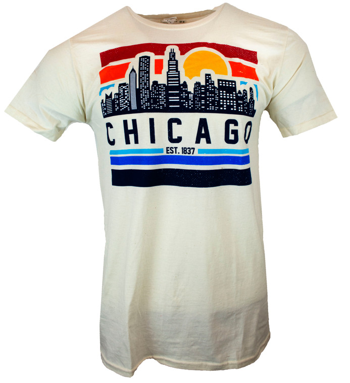 Men's Short Sleeve Chicago High Anxiety Skyline T-Shirt - Natural white
