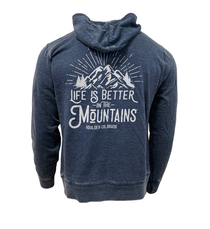 "Men's Long Sleeve Boulder ""Life's Better In the Mountains"" Hooded Sweatshirt - Indigo Blue back"