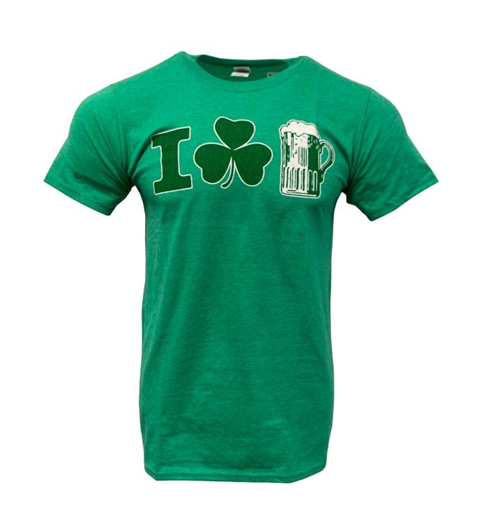 Men's Short Sleeve I Shamrock Beer Mug Saint Patrick's Day T-Shirt - heather Irish Green