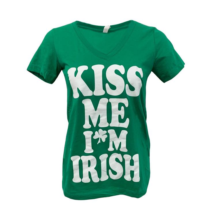Women's Short Sleeve Kiss Me I'm Irish Saint Patrick's Day V-Neck T-Shirt - Irish Green