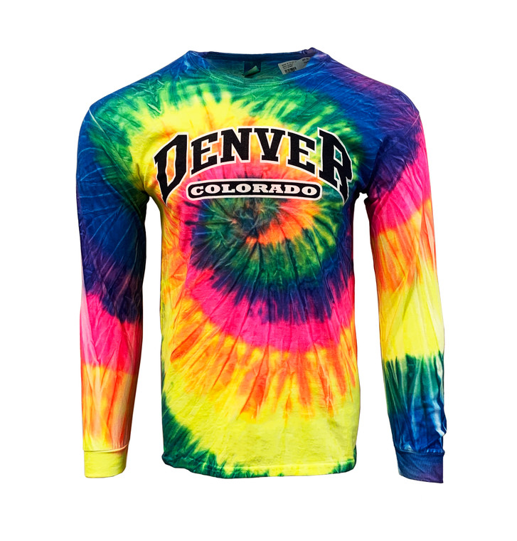 Men's Long Sleeve Denver Colorado Tye Dye Long Sleeve T-Shirt - Rainbow