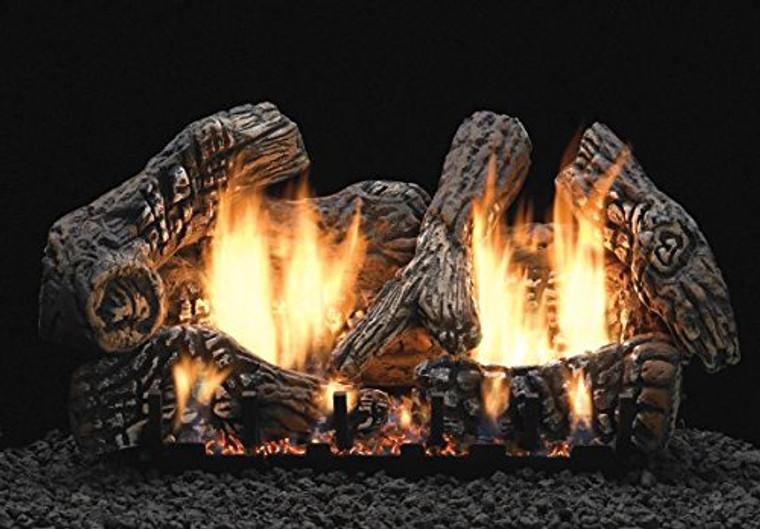 """Empire Comfort Systems 24"""" Super Charred Oak Logset with IP VF Slope Glaze Burner, LP"""