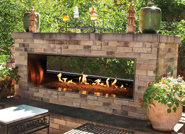 """Empire Comfort Systems Carol Rose Outdoor SS See-Through 60"""" Linear Fireplace - NG"""