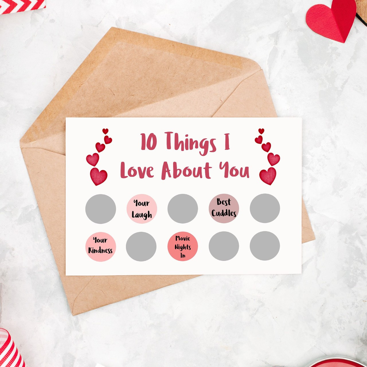 Personalised 10 Things I Love About You Scratch off Greetings card
