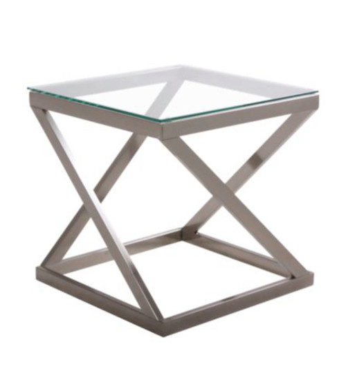 COYLIN BRISHED NICKEL FINISH SQUARE END TABLE