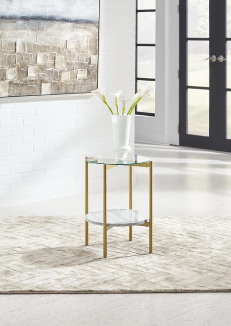 Wynora White/Gold Round End Table
