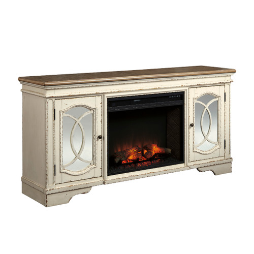 """74"""" REALYN WHITE XL TV STAND w/FIREPLACE"""
