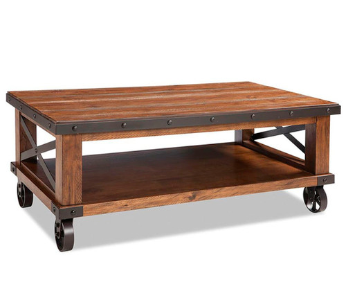 TAOS COFFEE TABLE WITH CASTERS - CANYON BROWN