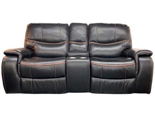 LEATH-AIRE RECLINING LOVESEAT w/CONSOLE