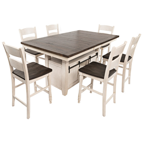 """MADISON COUNTY 72"""" VINTAGE WHITE HIGH/LOW DINING SET"""