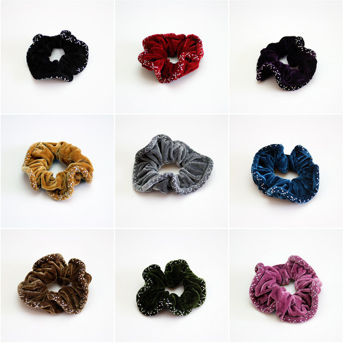 Velour Scatter Stoned Scrunchy