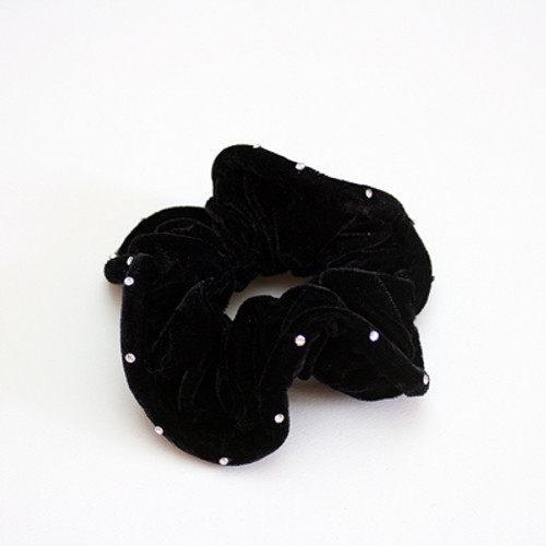 Velour Single Spaced Stoned Scrunchy
