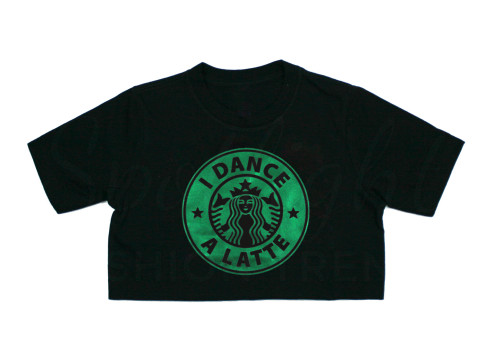 I Dance a Latte Crop Top - BLACK/Green