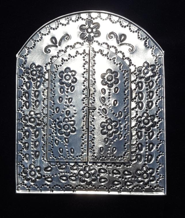 Silver Tin Mirror w/ Doors