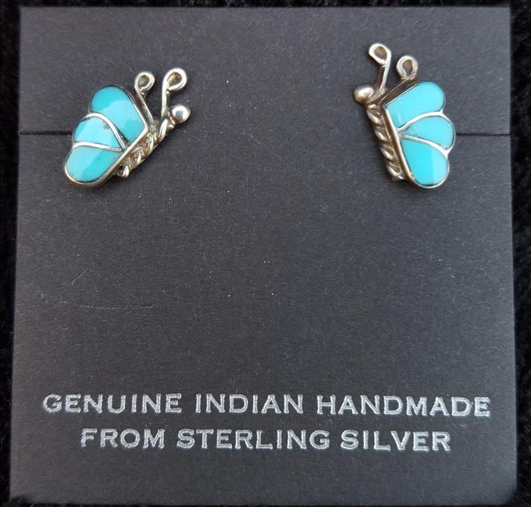 Turquoise Zuni Butterfly Earrings