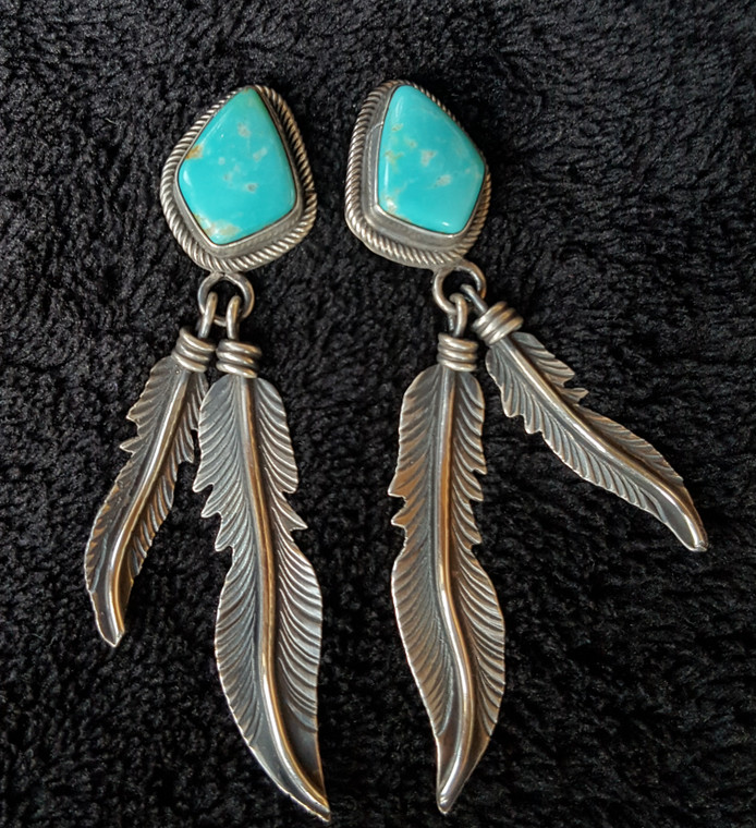 Diamond Shaped Turquoise with Sterling Silver Feathers