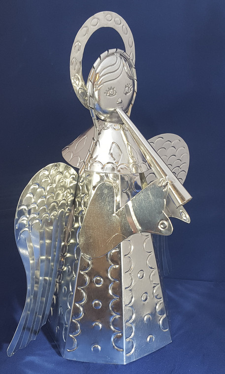 """Silver Tin Angel with Instrument 12"""" Tall 9"""" Wide 6"""" Deep"""