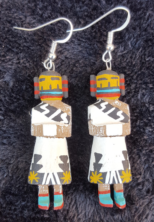 """Harvest Girl Kachina Earrings  2"""" long Caraved from Cottonwood and hand painted by Loretta Multine"""