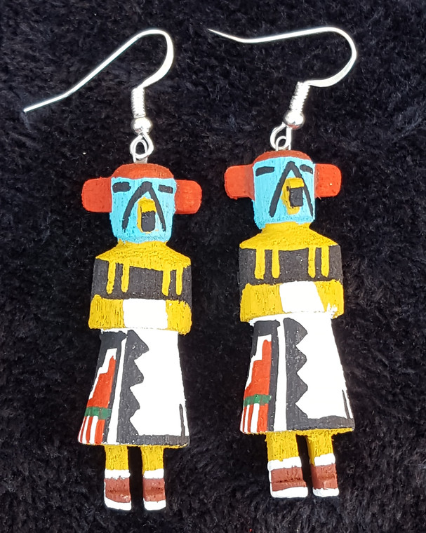 Morning Singer Kachina Earrings.  Hand carved and painted by Loretta Multine